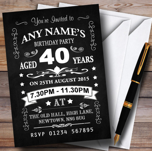 Vintage Chalkboard Style Black And White 90Th Birthday Party