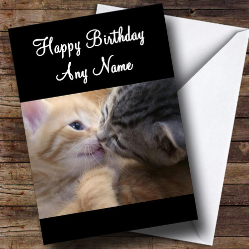 Sweet Kissing Kittens Personalised Birthday Card