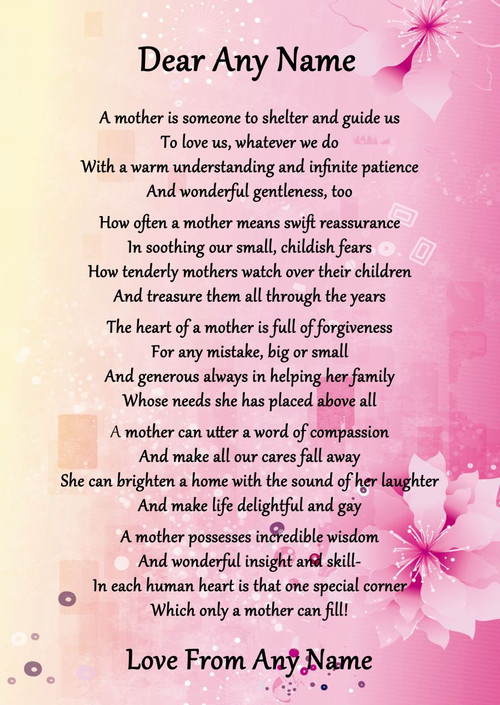 Pink Amp Yellow What Is A Mother Personalised Poem