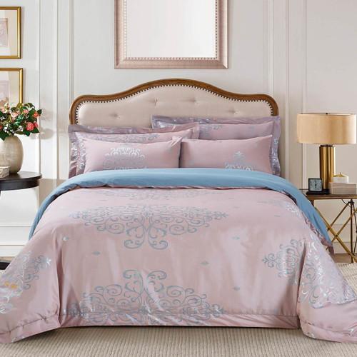 DM504K Dolce Mela Bedding   Ancona, Luxury Jacquard King Size Duvet Cover  Set