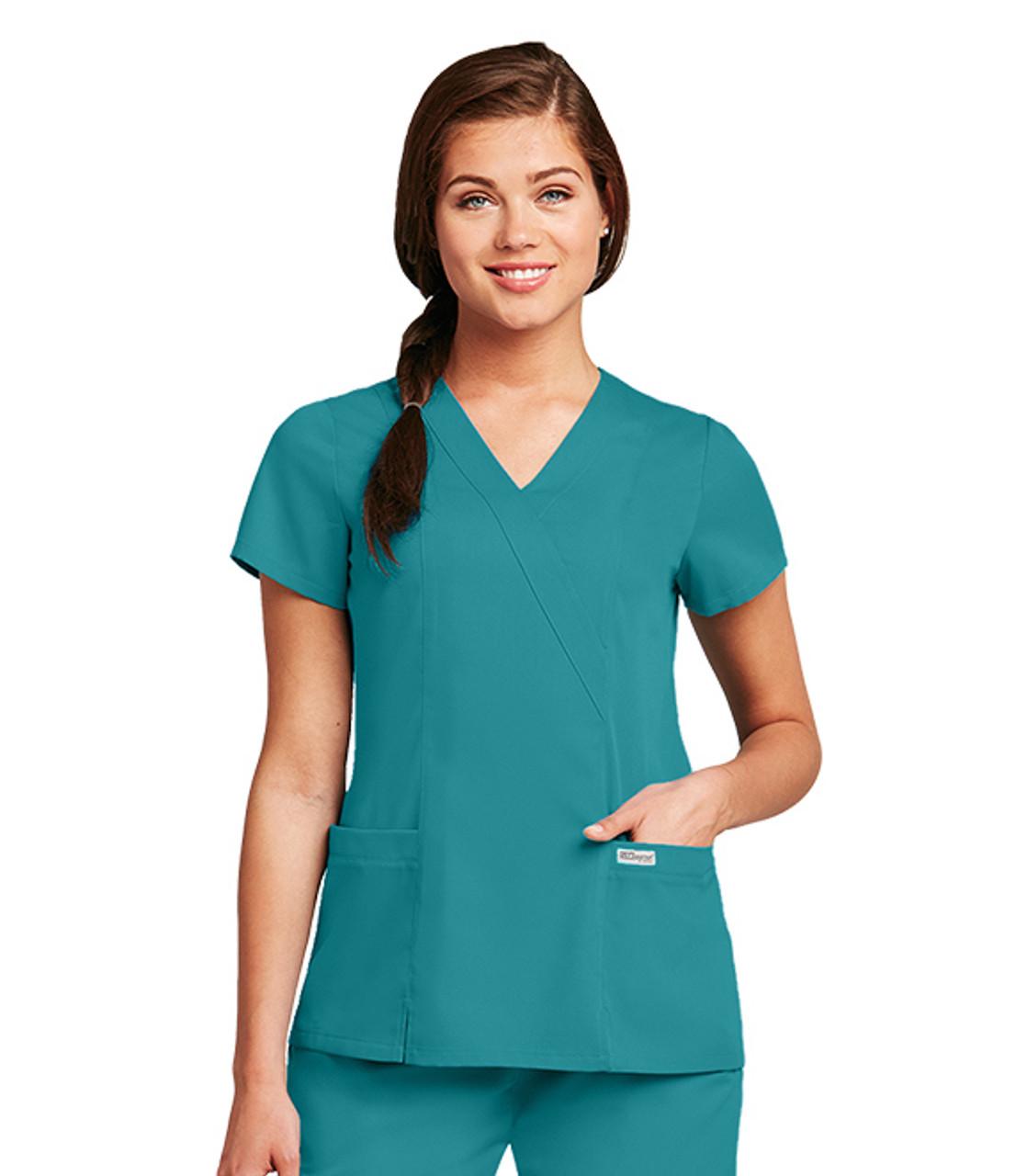 (41101) - Grey's Anatomy Scrubs - Junior 2 Pocket Mock Wrap W/ Princess Seams, Elastic Back