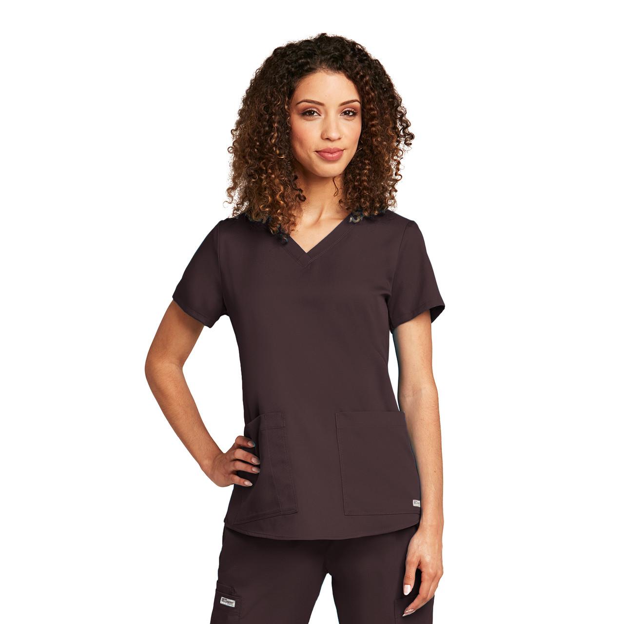 71166) - Grey\'s Anatomy Scrubs - 2 Pocket V-Neck Shirred Back Solid ...