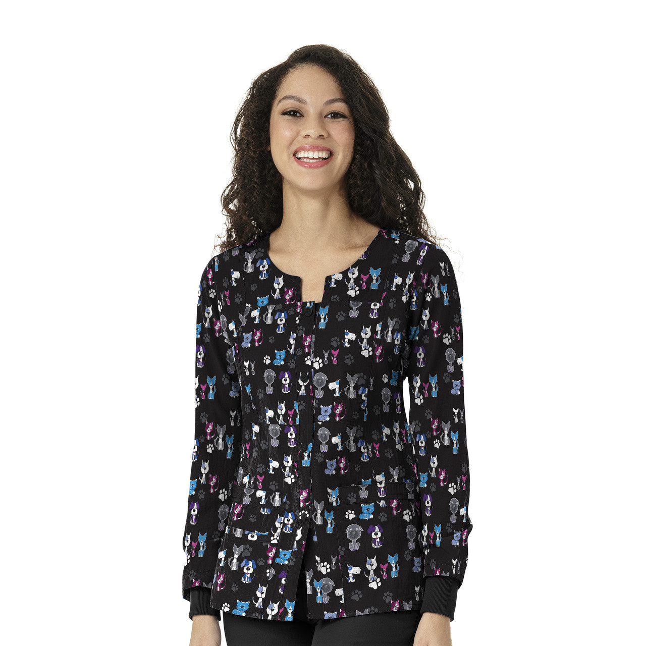 (8117) WonderWink Four-Stretch Women's Printed Button Front Jacket
