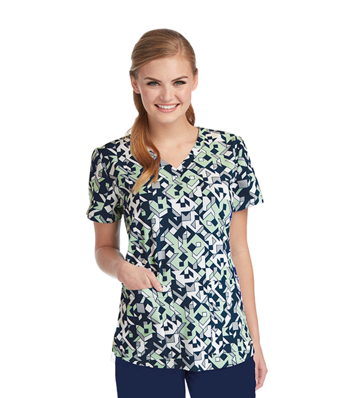 (41386-CPZ) Grey's Anatomy Scrubs - Crystal Puzzle Print V-Neck Top with Shirring Detail