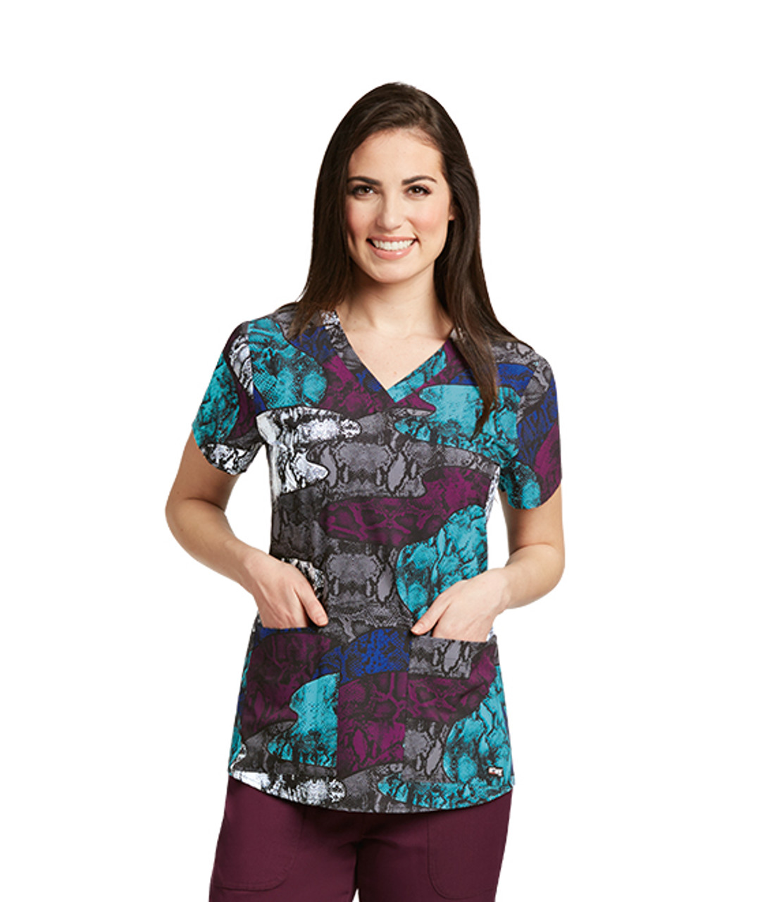 (41386-VPA) Grey's Anatomy Scrubs - Viper Patchwork Print V-Neck Top with Shirring Detail