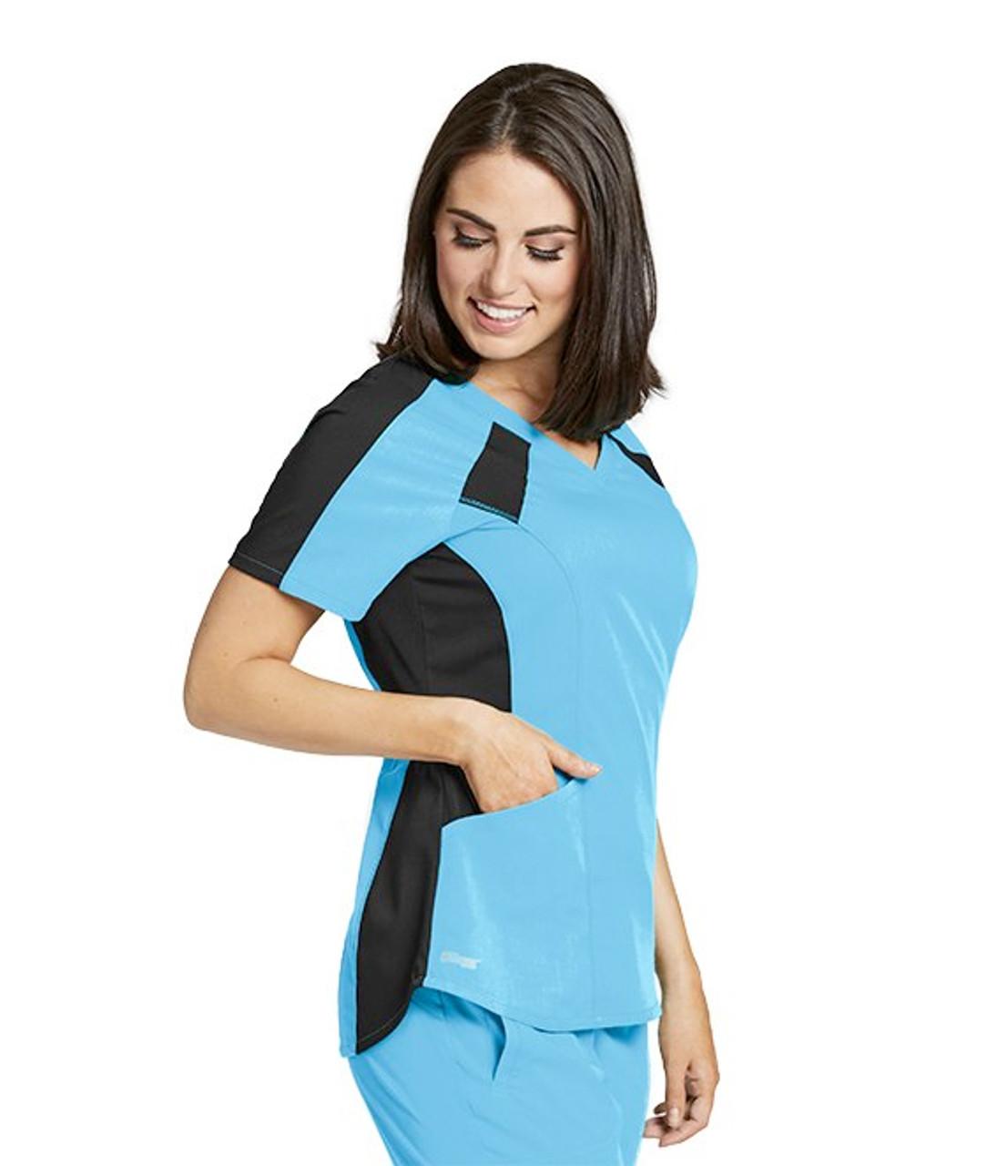 (GVST003) Grey's Anatomy Active Stretch 3 Pocket V-Neck Contrast Raglan Scrub Top