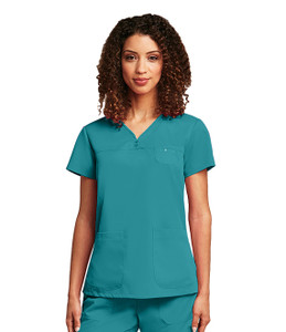 (41340) - Grey's Anatomy Scrubs - 3 Pocket V-Neck Tonal Stitch Scrub Top