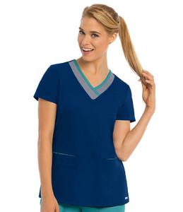 (41399) - Grey's Anatomy Active Scrubs - 3 Pocket Color Block V-Neck