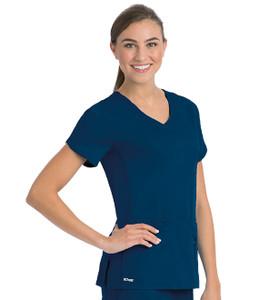 (41423) Grey's Anatomy Active Scrubs Side Panel V-Neck Solid Scrub Top