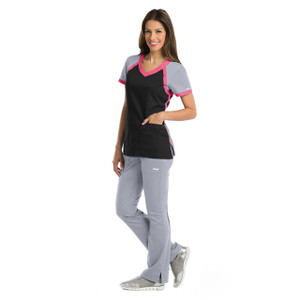 (41435) Grey's Anatomy Active Scrubs Tri-Color V-Neck Scrub Top