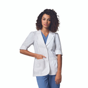 "(4414) - Labcoats by Barco - Junior 28"" 2 Shirred Pockets Short Sleeve Lab W/ Back Belt"