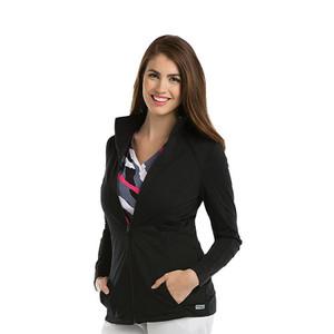 (4482) - Grey's Anatomy Scrubs - 2 Pocket Mock Neck Zip Front Solid Scrub Jacket