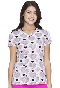 (HS624-DRIP) HeartSoul Fashion Prints Scrubs V-Neck Top