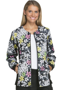 (2315C-BOMN) Cherokee Flexibles Scrubs Zip Front Knit Panel Warm-Up Jacket - Bouquet Me Not