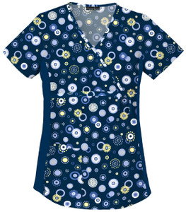 (2746C-DWON) Cherokee Flexibles Scrubs - Maternity Mock Wrap Knit Panel Top - Dot's Wonderful