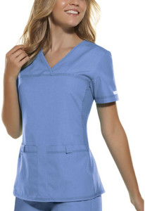 (2968) Cherokee Flexibles Scrubs V-Neck Knit Panel Top