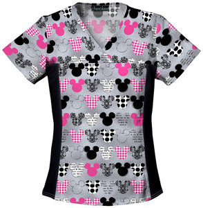 (6875C-MKMK) Cherokee Tooniforms Scrubs - 6875C V-Neck Knit Panel Top - Mickey (MKMK)