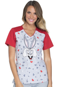 (TF632-LTHU) Cherokee Tooniforms Scrubs - TF632 V-Neck Top - Bugs Hearts U (LTHU)