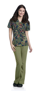 (9051-CRPSL) Urbane Prints Scrubs - V-Neck Tunic