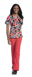 (9051-DFBPS) Urbane Prints Scrubs - V-Neck Tunic
