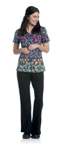 (9052-BHPSL) Urbane Prints Scrubs - Diamond Neckline Top