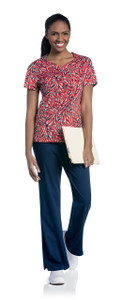 (9052-SHPSL) Urbane Prints Scrubs - Diamond Neckline Top
