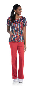 (9053-FPPS) Urbane Prints Scrubs - Faux Wrap Tunic