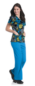(9053-IRPS) Urbane Prints Scrubs - Faux Wrap Tunic