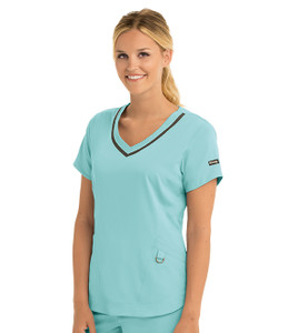 (7187) Grey's Anatomy Impact - Harmony 3 Pocket V-Neck Scrub Top - Surf Aqua