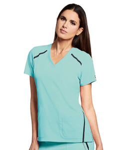 (7188) Grey's Anatomy Impact Scrubs - Elevate 3-Pocket Cross Over V-Neck - Surf Aqua
