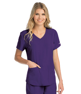 (SK101) Skechers Scrubs - Vitality 3 Pocket Virtual V-neck Scrub Top - New Grape