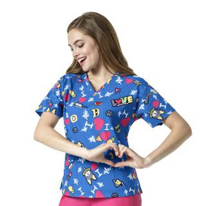 (6187) WonderWink WonderFLEX Women's V-Neck Print Top