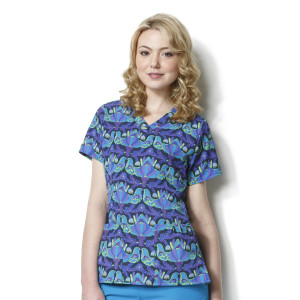 (9027) WonderWink Origins Women's Contoured V-Neck Print Top