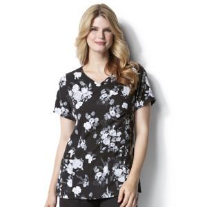 (9227) WonderWink Origins Women's Shirred Fashion Wrap Print Top
