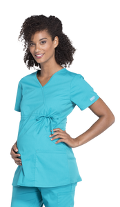 (WW685) Cherokee Workwear Professionals Maternity Mock Wrap Top