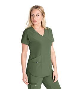 (BWT008) Barco One Wellness Women's 4 Pocket V-Neck Raglan Back Slit Top