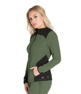 (BWW901) Barco One Wellness Women's Zen 2-pocket Sleek Neck Color Block Warmup Jacket