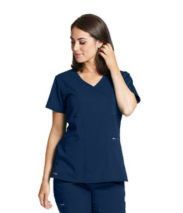(GRST001) Grey's Anatomy Active Stretch 3 Pocket Surplice Princess Edge Scrub Top