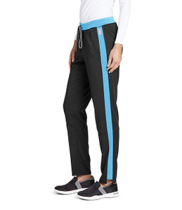 (GVSP501) Grey's Anatomy Active Stretch 3 Pocket Midrise Knit Color Block Cargo Scrub Pant