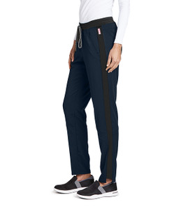 (GVSP501P) Grey's Anatomy Active Stretch 3 Pocket Midrise Knit Color Block Cargo Scrub Pant (Petite)