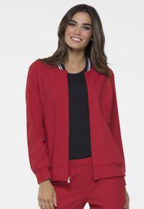 (EL310) Elle Simply Polished Contrast Trim Bomber Style Scrub Jackets