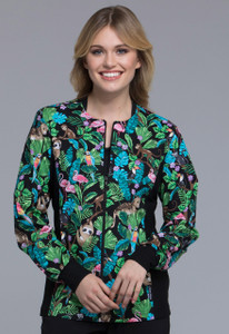 (CK307-TRTG) Cherokee Flexibles Scrubs Zip Front Knit Panel Warm-Up Jacket - Tropical Tango