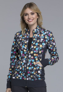 (CK308-PDGM) Cherokee Flexibles Scrubs Zip Front Knit Panel Jacket - Polka Dot Game