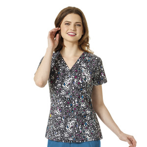 (6217-JWW) WonderWink Four-Stretch V-Neck Print Scrub Top - Jewel Paws