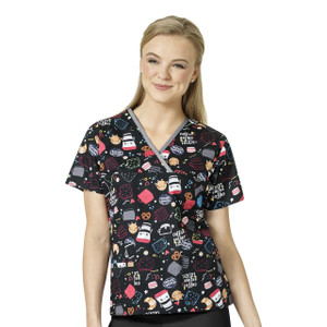 (6027-CBT)WonderWink Origins Crossover Print Scrub Top - Coffee Before Talkie