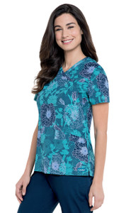(4150-DBPCC) Landau Mock Surplice Tunic - Dew Blossoms