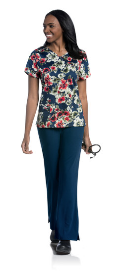 (9053-RRPS) Urbane Prints Scrubs - Faux Wrap Tunic