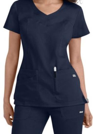 (41414) Grey's Anatomy 3 Pocket Round Yoke Neck Scrub Top