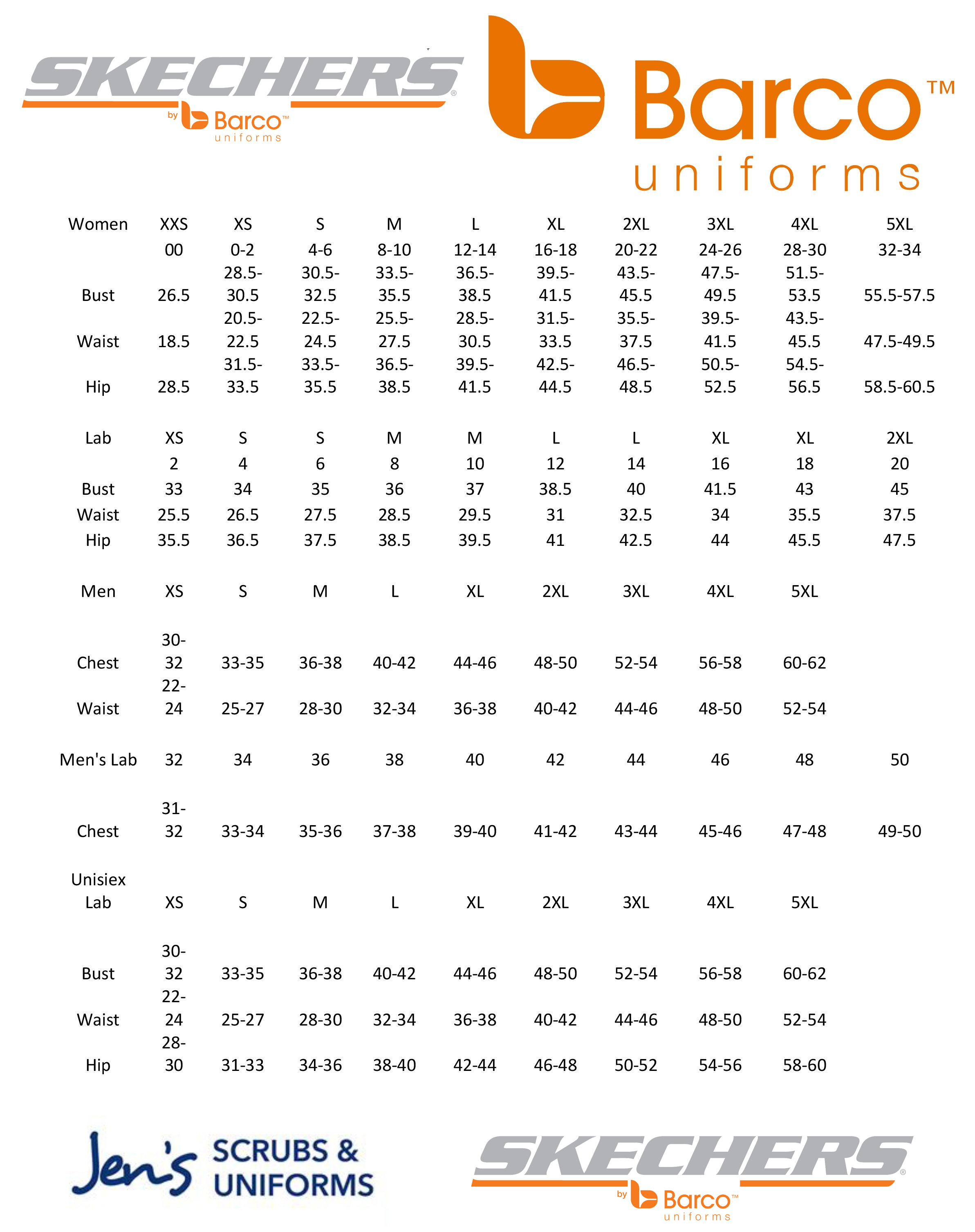 skechers sandals size chart