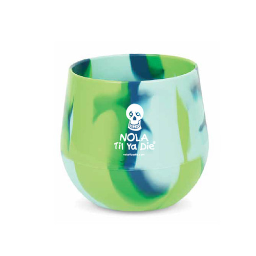 NOLA Til Ya Die Logo Stemless Wine Glass (sea swirl)